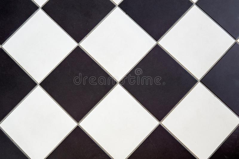 Ceramiczna podłogowa płytka czarny i biały obraz stock