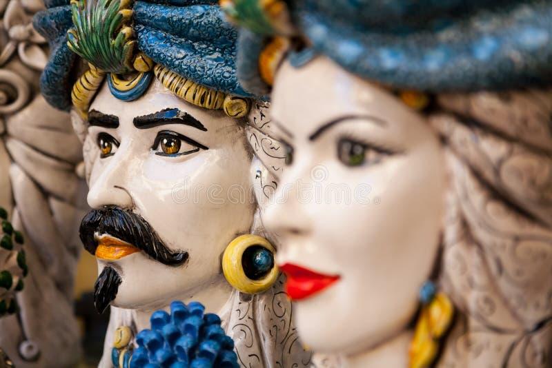 Ceramiczne głowy, Sorrento, Włochy obraz stock