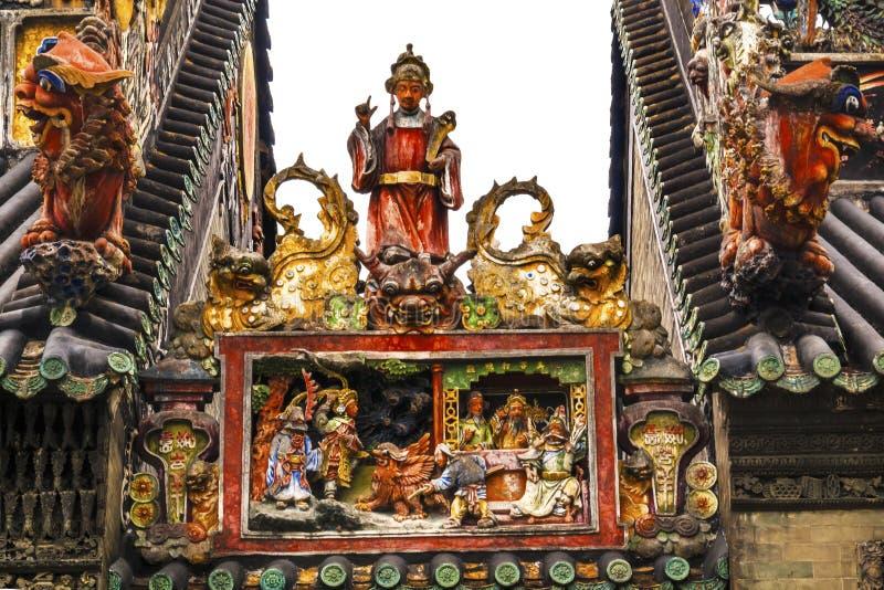 Ceramiczne postacie Chen Ancestralny Taoistyczny Świątynny Guangzhou Chiny zdjęcie stock