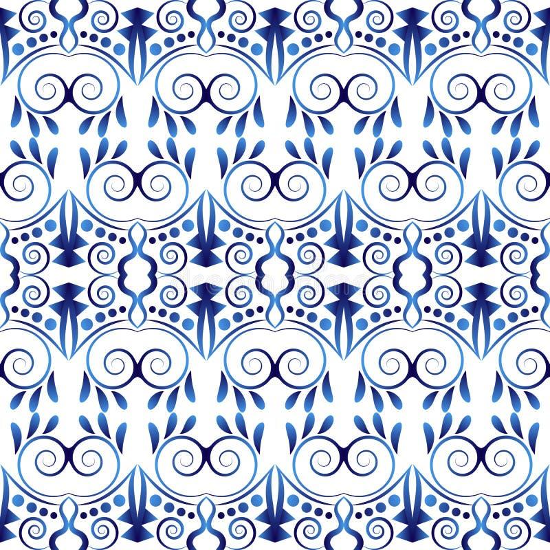 Ceramicznej płytki wzór Islamscy, indyjscy, arabscy motywy, adamaszkowy deseniowy bezszwowy Porcelany etniczny artystyczny tło Ab ilustracja wektor