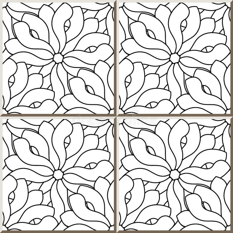 Ceramicznej płytki wzoru czerni bielu krzywy spirali konturu przecinający przepływ royalty ilustracja