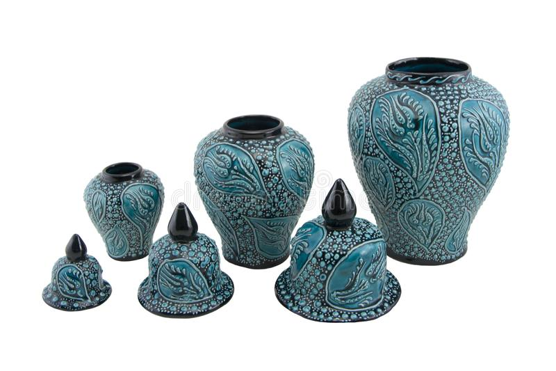 Ceramiczny cruse Indyczy Kutahya çini kà ¼ p obrazy stock