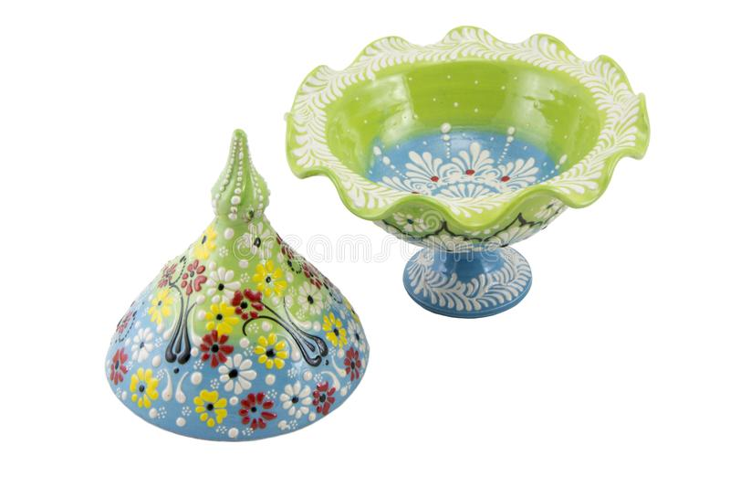 Ceramiczny cukrowy basen Indyczy Kutahya çini şekerlik obrazy stock