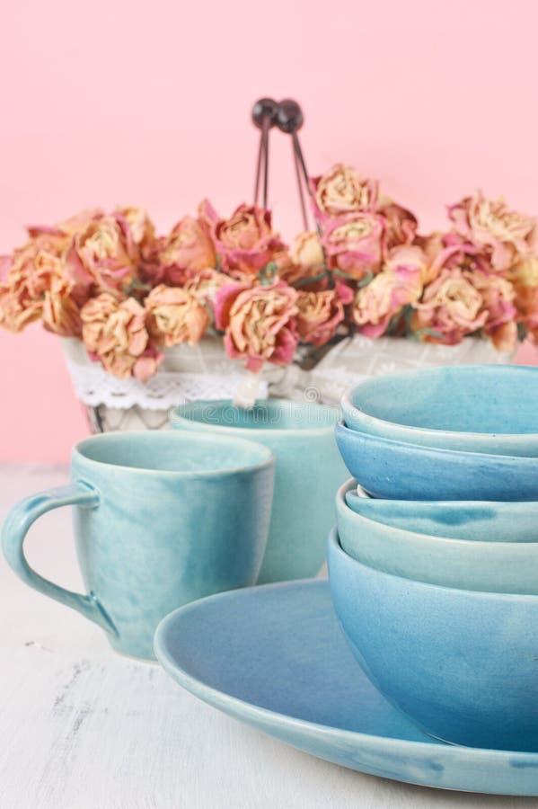 Ceramiczny dishware set obrazy stock