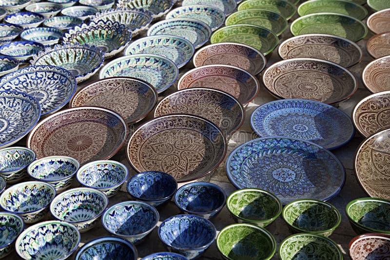 Ceramiczny dishware, Uzbekistan fotografia stock