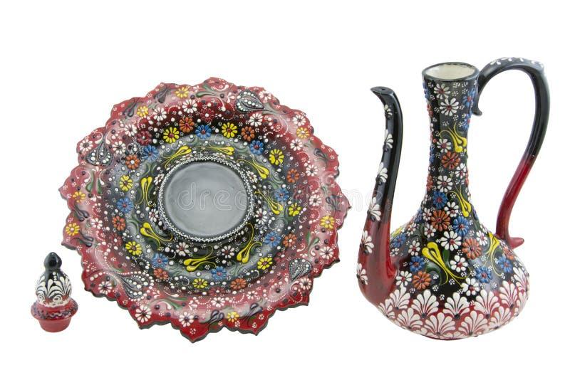 Ceramiczny ewer, çini Turcja, Narin ibrik Kutahya zdjęcia stock
