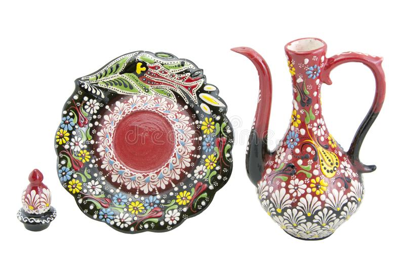 Ceramiczny ewer, çini Turcja, Narin ibrik Kutahya fotografia stock