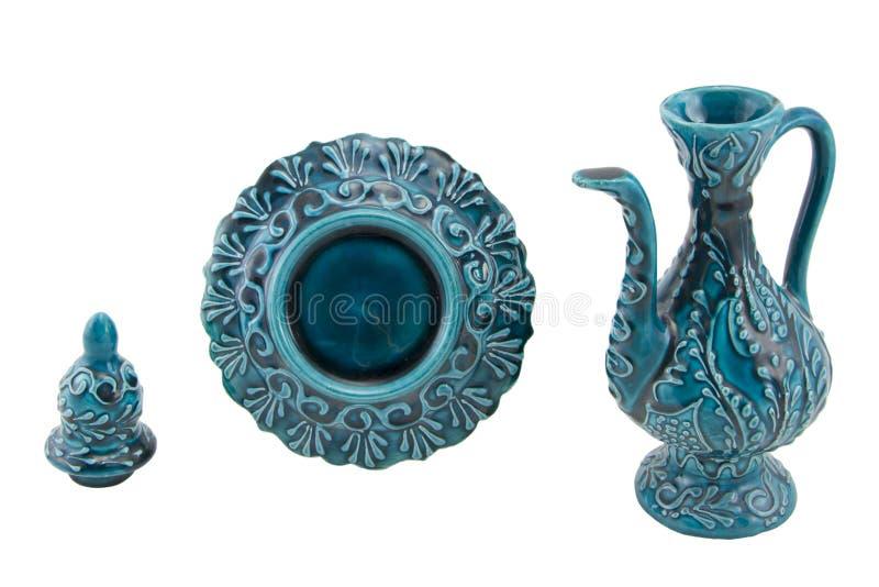 Ceramiczny ewer Indyczy Kutahya çini ibrik obraz royalty free