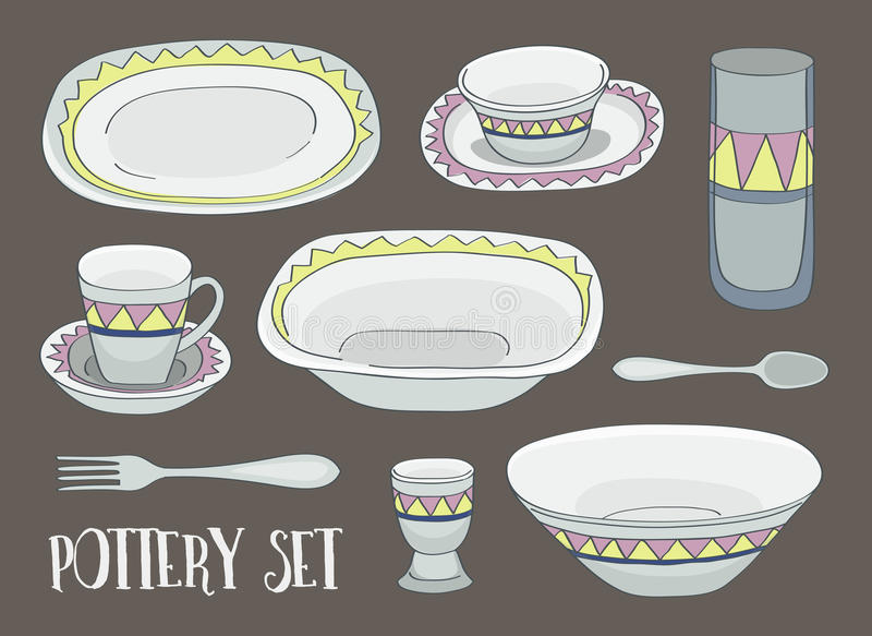Ceramiczny ikona set ilustracja wektor