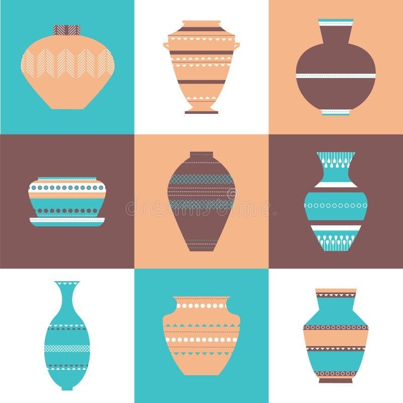 Ceramiczny ikona set royalty ilustracja