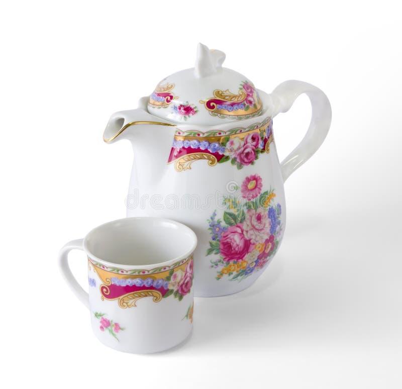 Ceramiczny Kawowy garnek i filiżanka obraz royalty free
