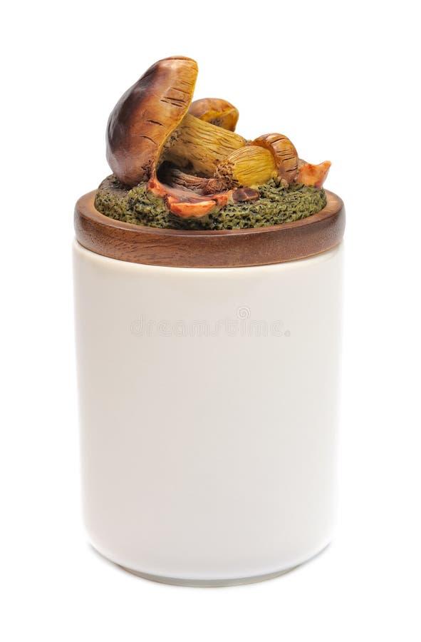 Ceramiczny słój z deklem kształtującym obrazy stock