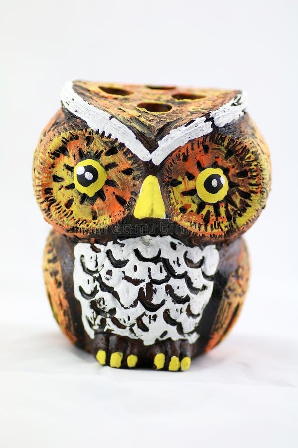 Ceramiczny sowa ołówka właściciel zdjęcia stock