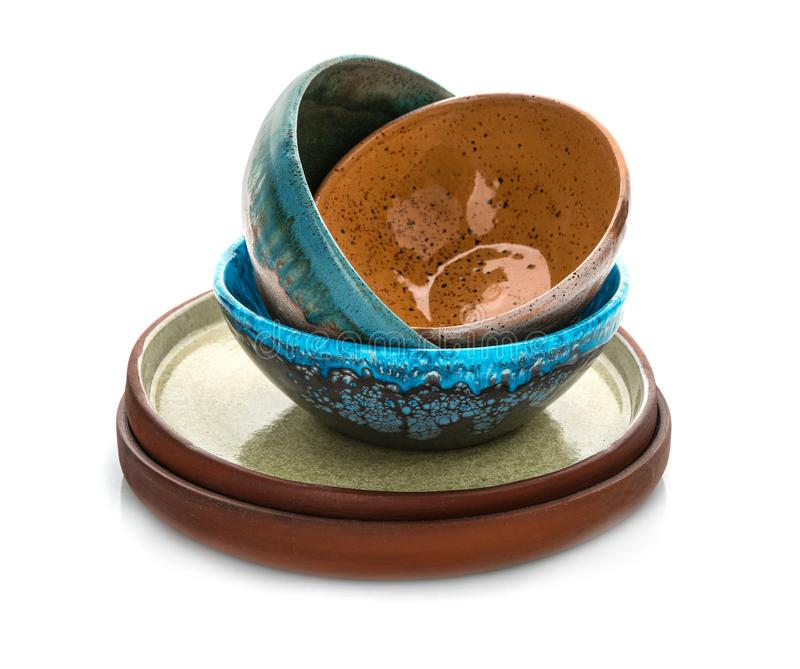 Ceramiczny tableware na tle zdjęcia stock