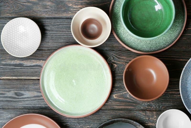 Ceramiczny tableware na tle obraz royalty free