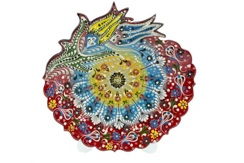 Ceramiczny talerz Indyczy Kutahya çini tabaka zdjęcie royalty free