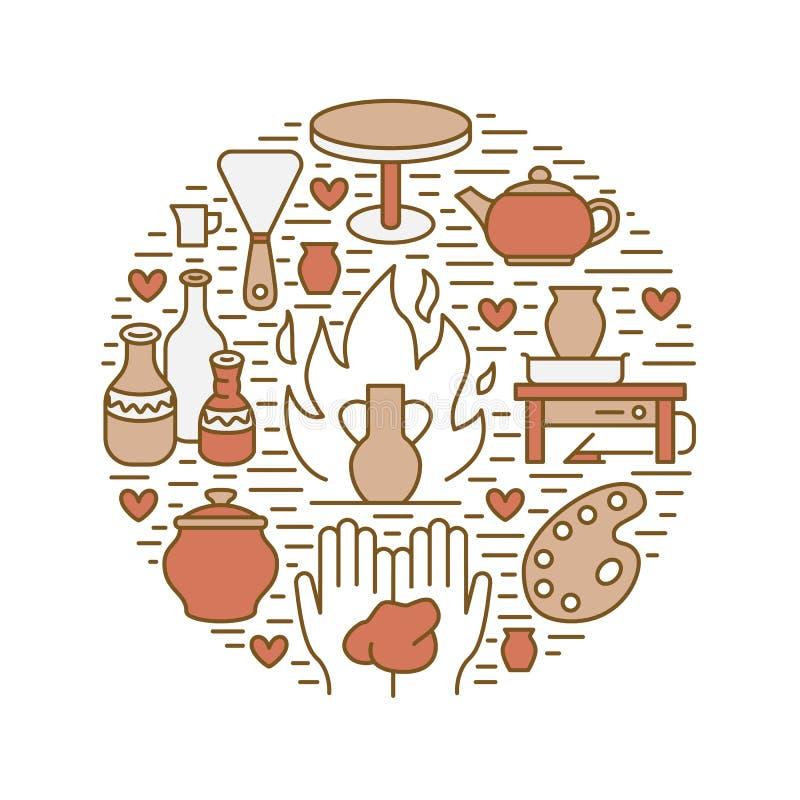 Ceramiczny warsztat, ceramics grupuje sztandar ilustrację Wektor kreskowa ikona gliniani pracowniani narzędzia Ręka budynek royalty ilustracja