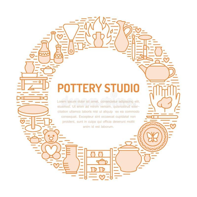Ceramiczny warsztat, ceramics grupuje sztandar ilustrację Wektor kreskowa ikona gliniani pracowniani narzędzia Ręka budynek ilustracji