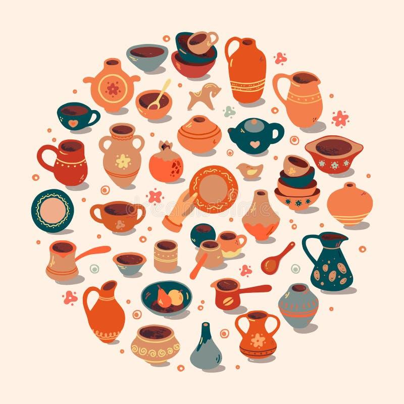 Ceramiczny warsztat, ceramics grupuje sztandar ilustrację Wektor kreskowa ikona gliniani pracowniani narzędzia Ręka budynek, rzeź royalty ilustracja
