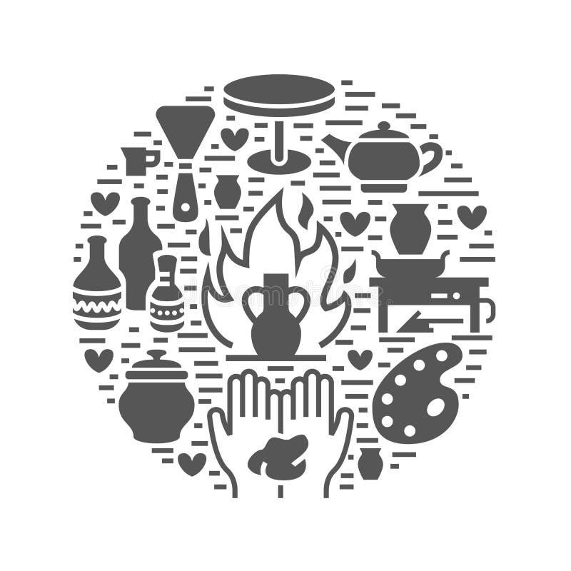 Ceramiczny warsztat, ceramics grupuje sztandar ilustrację Wektorowa glif ikona gliniani pracowniani narzędzia Ręka budynek ilustracji