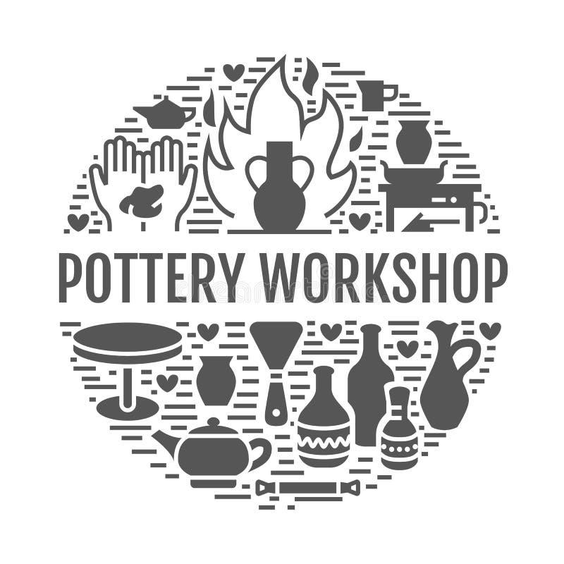 Ceramiczny warsztat, ceramics grupuje sztandar ilustrację Wektorowe glif ikony gliniani pracowniani narzędzia Ręka budynek ilustracji