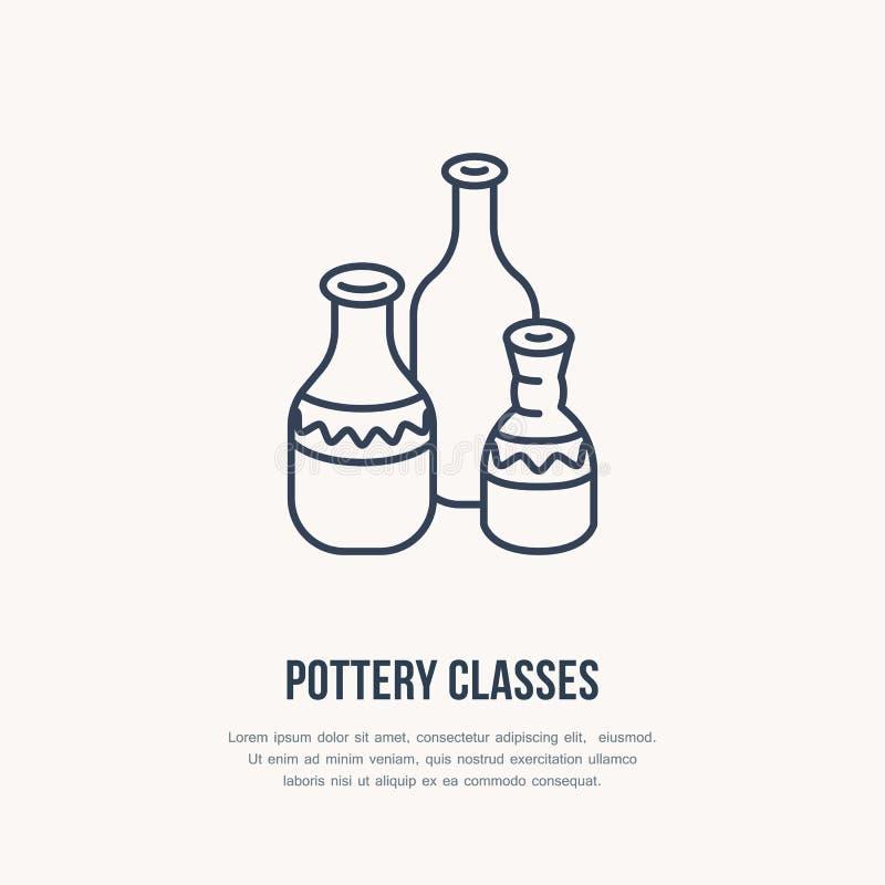 Ceramiczny warsztat, ceramics klas kreskowa ikona Gliniany pracowniany narzędzie znak Ręka budynek, rzeźbotwórczy wyposażenie skl ilustracja wektor