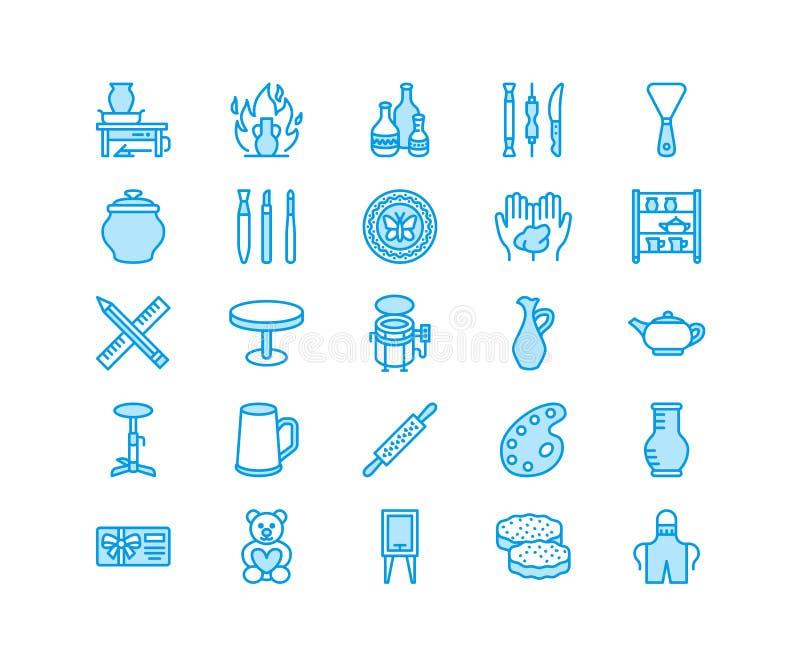 Ceramiczny warsztat, ceramics klas kreskowe ikony Gliniani studiów narzędzi znaki Ręka budynek, rzeźbotwórczy wyposażenie - garnc ilustracja wektor