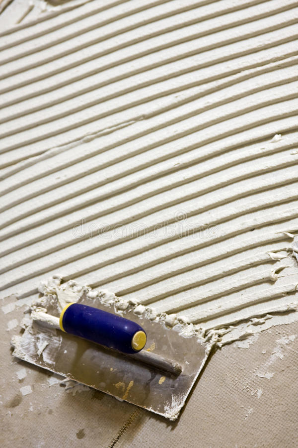 Ceramiektegel wit mortier stock fotografie