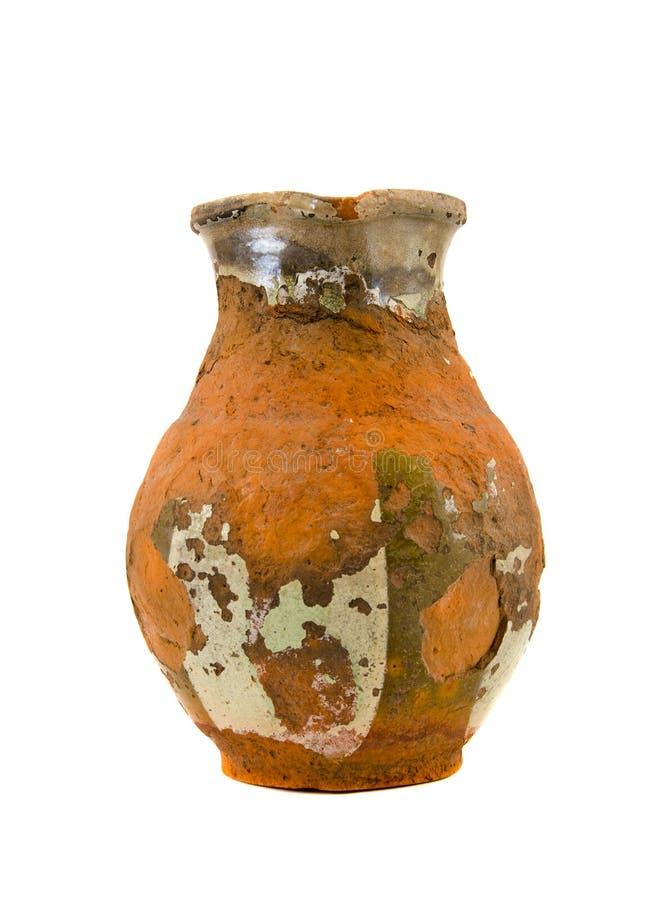 Ceramika odosobniony starzejący się antyczny miotacz zdjęcie stock