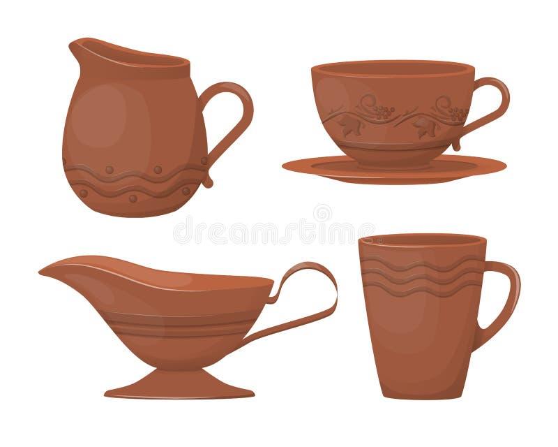 Ceramisch aardewerk Mooie kleikaraffen met een decoratief ornament vector illustratie