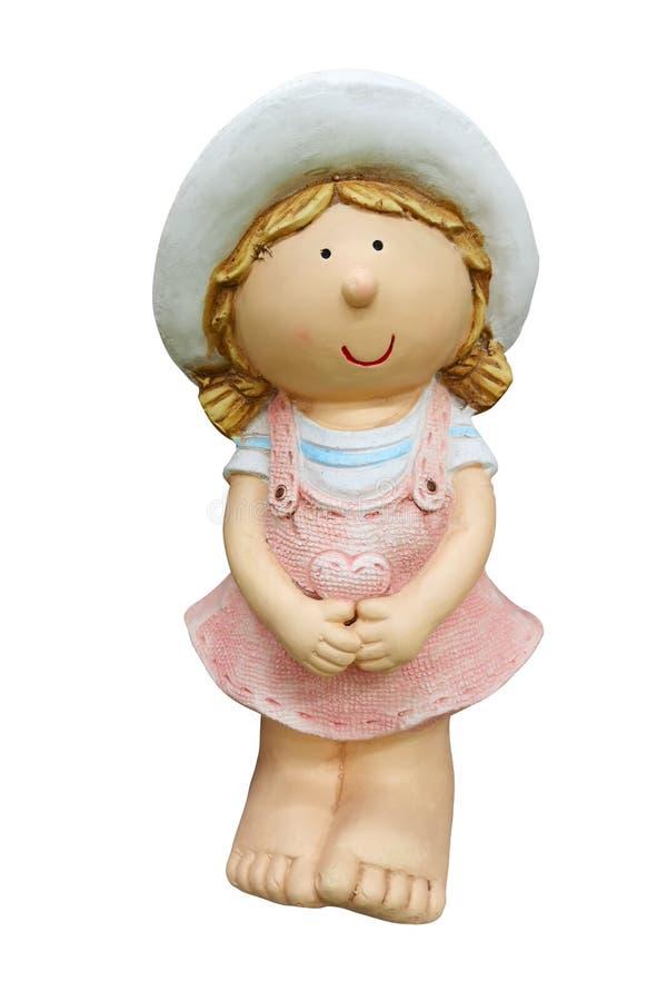 Ceramisch cijfer van wat meisje het tuinieren Decoratief stuk speelgoed beeldhouwwerk voor de tuin herinnering Ge?soleerdj op wit royalty-vrije stock foto's