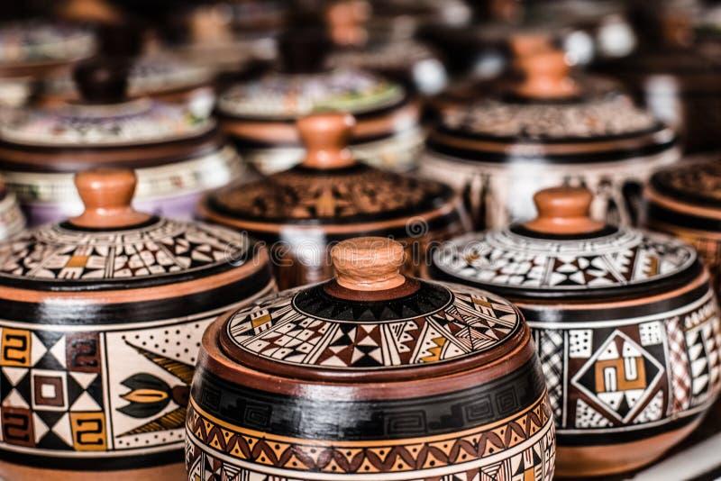 Ceramisch in lokale markt in Peru, Zuid-Amerika. stock foto's