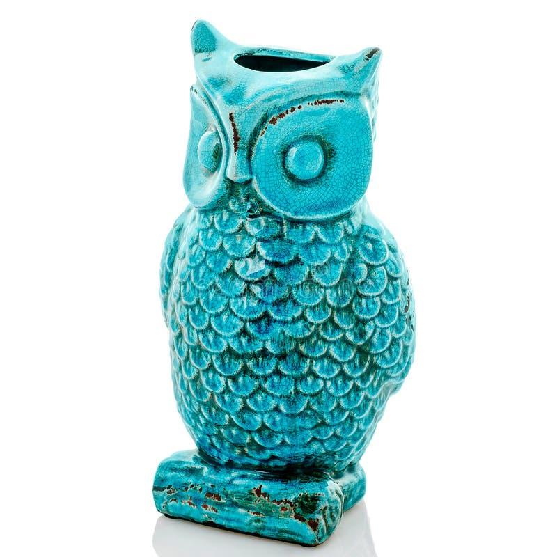 Ceramisch uilbeeldje, blauwe uil royalty-vrije stock foto