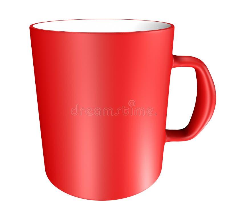 Ceramische geïsoleerde mok - rood royalty-vrije illustratie