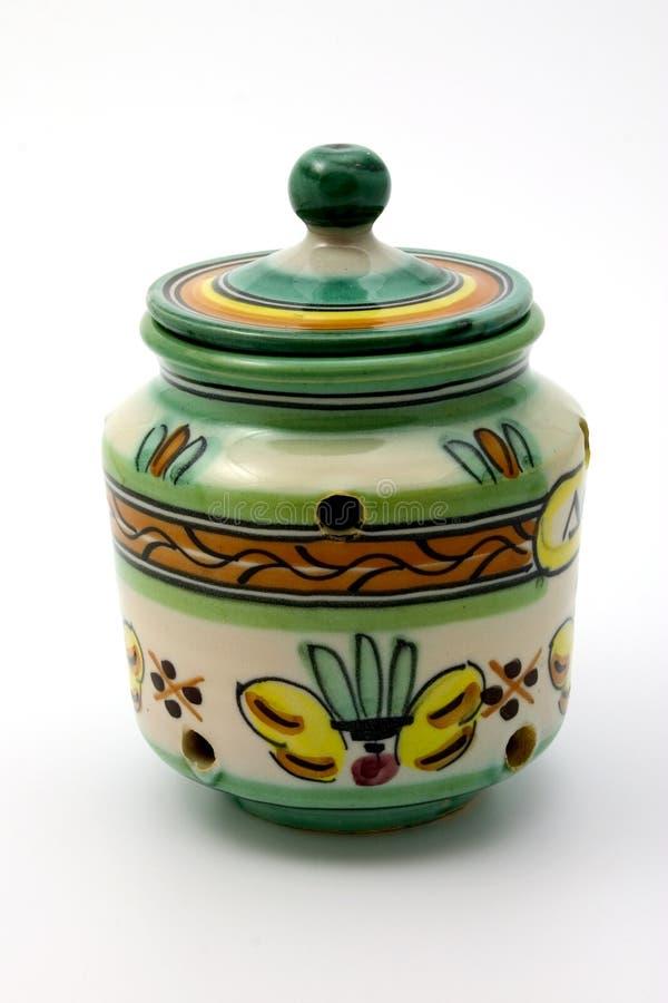 Ceramische knoflookbewaarder royalty-vrije stock afbeelding