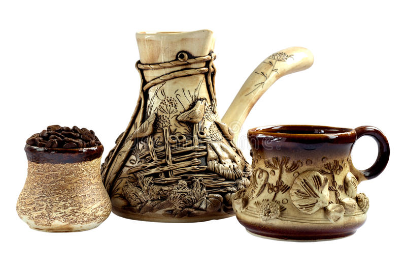 Ceramische koffiereeks, cezve royalty-vrije stock foto's