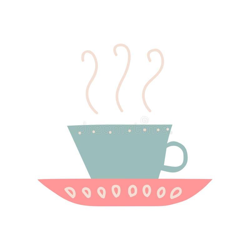 Ceramische Kop met Hete Thee of Koffie en Schotel, Leuke Ceramische Aardewerk Vectorillustratie vector illustratie
