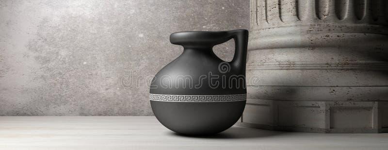 Ceramische oude Griekse kleine pot met handvat en marmeren kolom, banner 3D Illustratie royalty-vrije illustratie