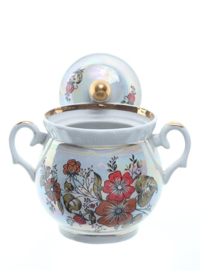 Ceramische retro suikerkom royalty-vrije stock fotografie