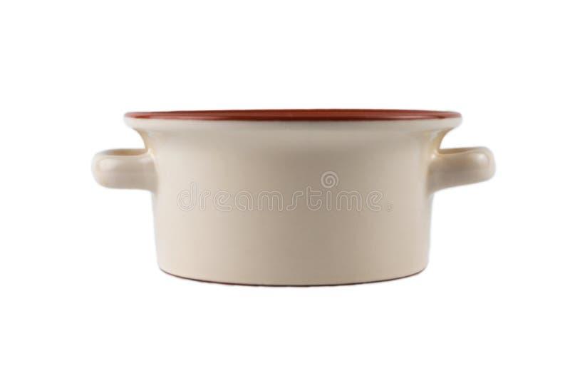 Ceramische steelpan op een wit stock fotografie