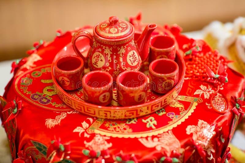 ceramische uitstekende theepot, Aziatische theestellen, traditioneel vaatwerk royalty-vrije stock fotografie