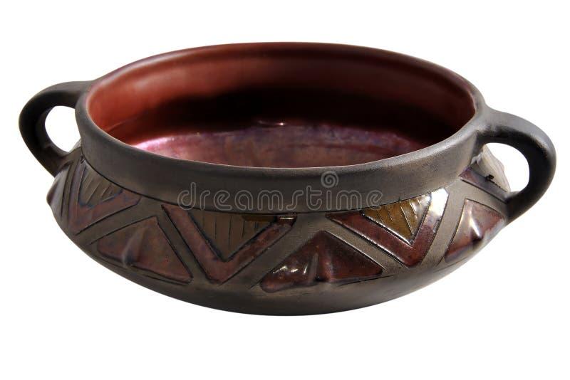 Ceramische vaas met een patroon op een witte achtergrond, royalty-vrije stock foto's