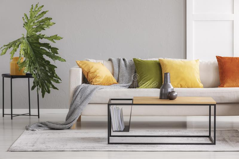 Ceramische vazen op eenvoudige houten koffietafel in modieuze woonkamer met grote comfortabele laag met kleurrijke hoofdkussens,  royalty-vrije stock foto's