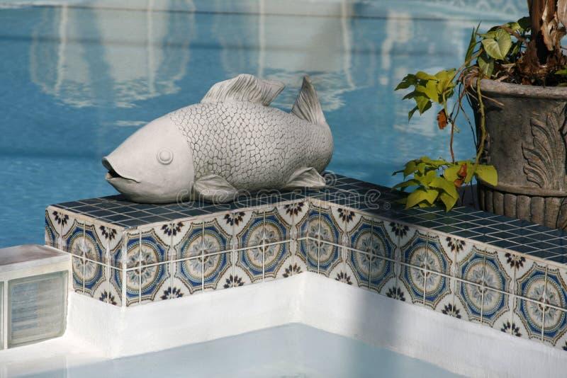 Ceramische Vissen dichtbij Pool stock foto's