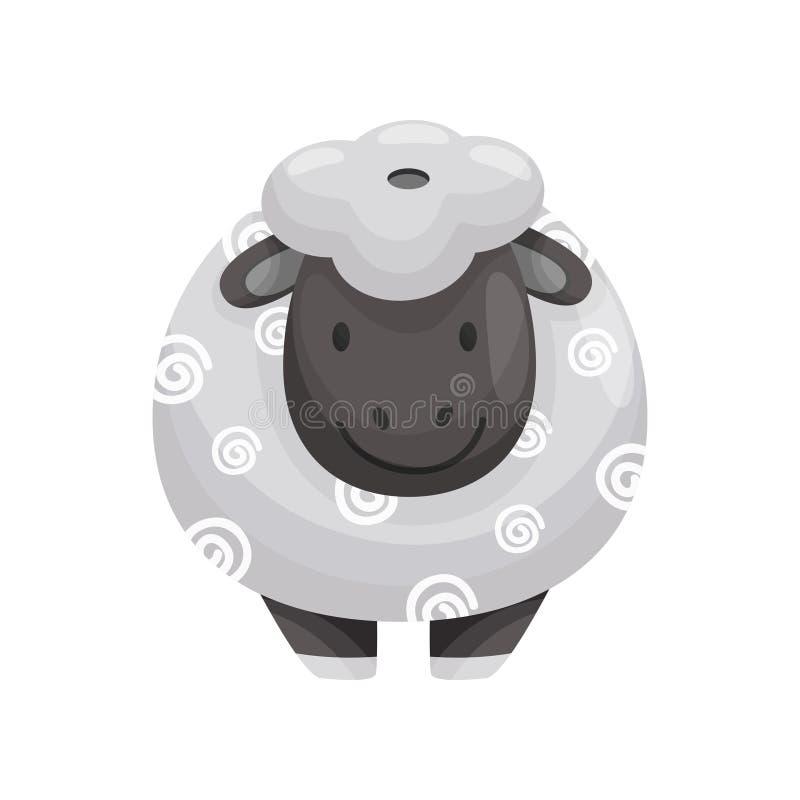 Ceramische zout of peper als lam met zwarte snuit Vector illustratie vector illustratie