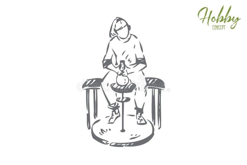 Ceramist hobby pojęcia nakreślenie Odosobniona wektorowa ilustracja royalty ilustracja