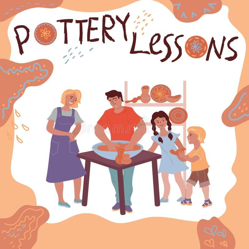 Ceramisten på arbete undervisar barn den plana illustrationen som isoleras på vit stock illustrationer
