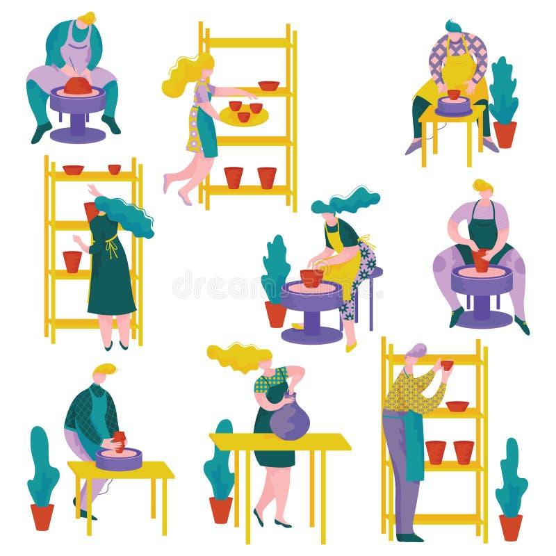 Ceramistsfolkuppsättning, man- och kvinnaarbete på lerkärl och keramik på krukmakeriseminariet, hantverkhobby eller yrke stock illustrationer