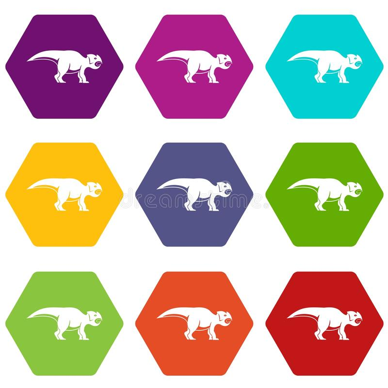 Free Ceratopsians Dinosaur Icon Set Color Hexahedron Royalty Free Stock Photography - 98472987