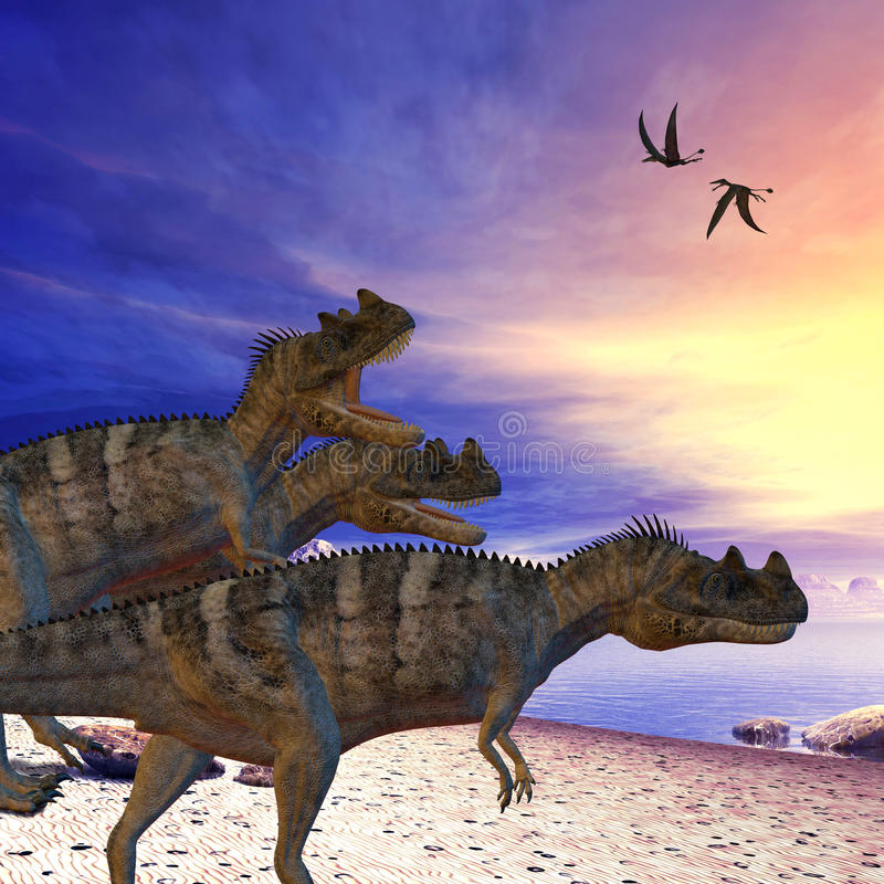Ceratosaurus on the Prowl. Ceratosaurus dinosaurs search the beach for prey as two Dorygnathus flying reptile pass overhead stock illustration
